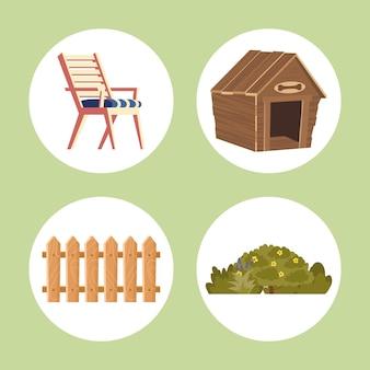 Set icons of backyard house