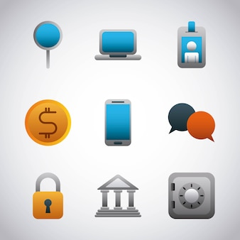 Set icons banking financial business vector illustration