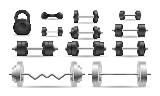 Set icons of barbell and dumbbell illustration