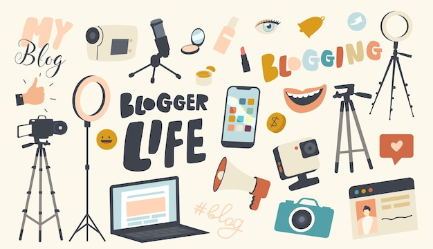 Set of icons blogger life theme. video camera, light equipment, laptop and photo camera, smartphone, smiling mouth and tripod for mobile phone, loudspeaker or microphone. linear vector illustration