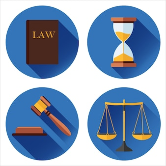 Set of icons on a blue background law, court. in flat design style