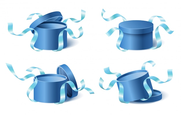 Set icons blue gift box with ribbons and closed and opened lid