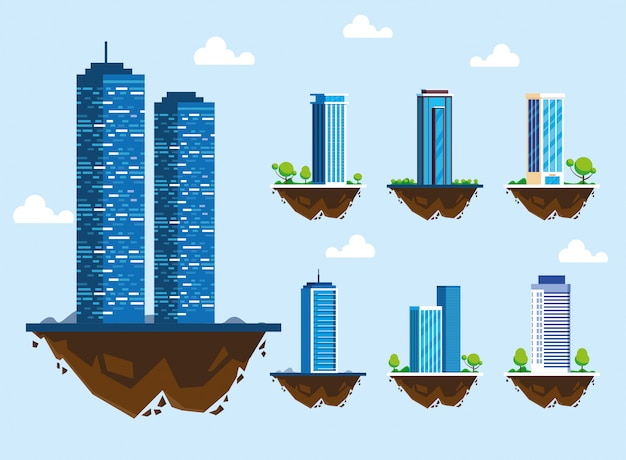 Set of icons of buildings over terrain, urban landscape