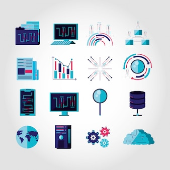 Set icons business and technology