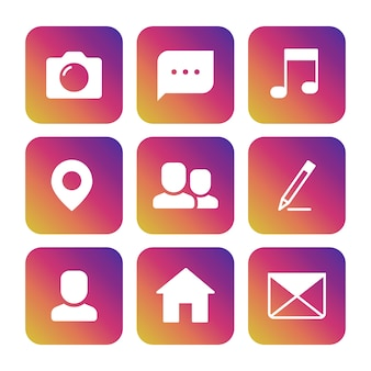 Set icons of camera, photography, speech bubble, musical note, location point, avatar, pencil, house and envelope