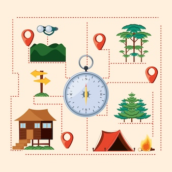 Set icons of camping zone