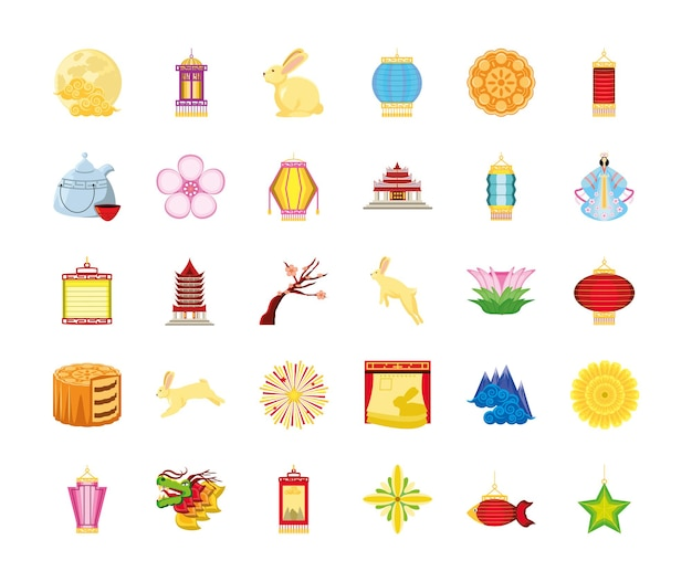 Set icons of chinese moon festival