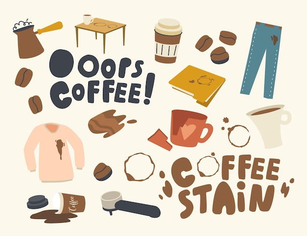 Set of icons coffee stains theme