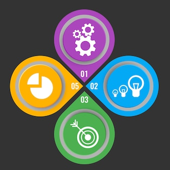 Set of icons in colorful buttons with mechanical gears, electric lamps, arrow in aim and infochart vector illustration with step numbers isolated on black