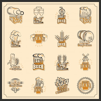 Set of icons craft beer