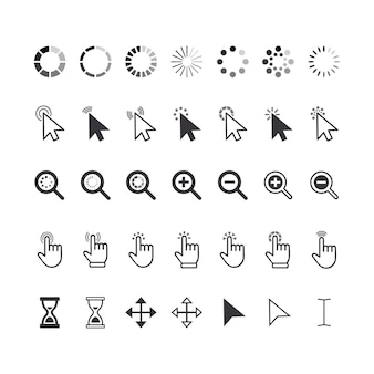 Set of icons cursor pointers, click arrows, fingers, magnifiers and hourglass clocks. graphic elements for website navigation, pointing pictograms isolated on white background. vector illustration