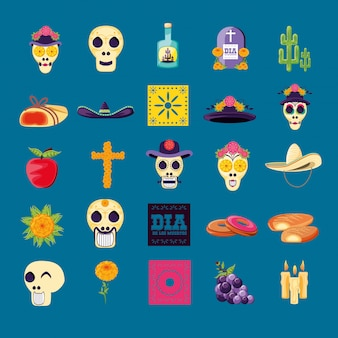 Set icons of day of the dead party