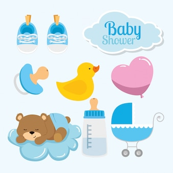 Set icons decoration for baby shower