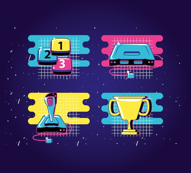 Set icons of devices video game retro style