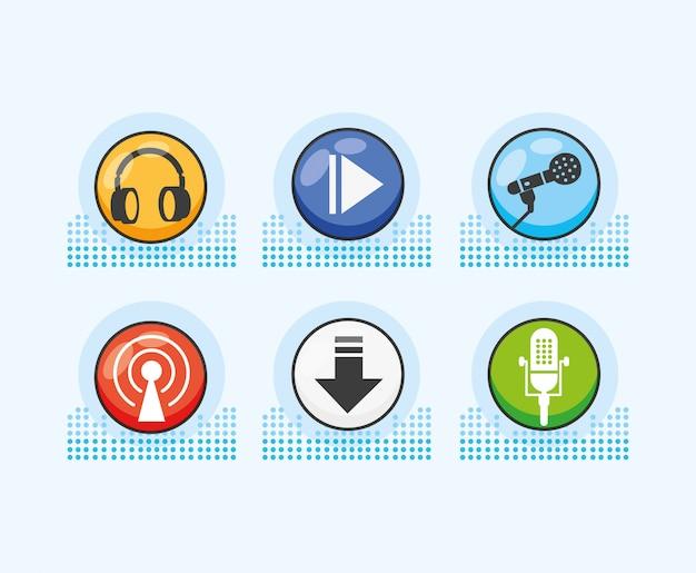 Set icons of digital audio studio