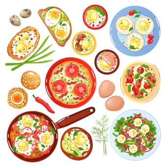 Set of icons dishes from quail and hen eggs with vegetables mushrooms and greenery isolated illustration