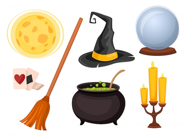 Set of icons for divination and magic tricks