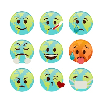 Set of icons earth, emojis with different faces