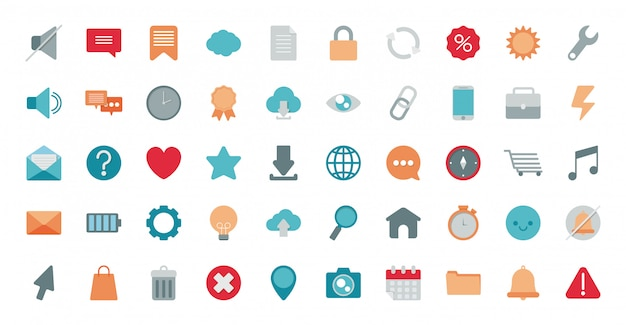 Set of icons electronic commerce on white background