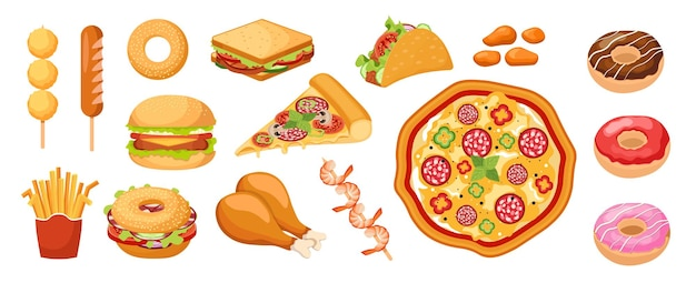 Set of icons fastfood, takeaway food french fries, sweet donuts, sandwich. chicken legs, nuggets and pizza with sausage