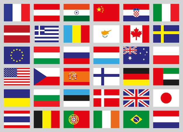 Set icons of flags of different countries. vector illustration.