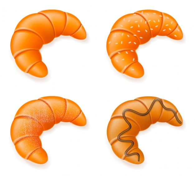 Set icons of fresh crispy croissants vector illustration