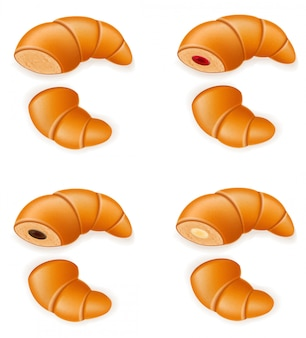 Set icons of fresh crispy croissants with jam chocolate and cream vector illustration