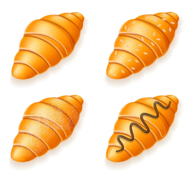 Set icons of fresh crispy croissants with sesame seeds chocolate and powdered sugar vector illustration
