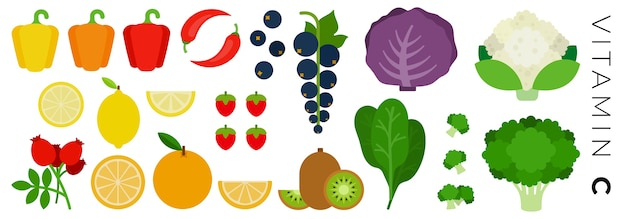 Set of icons fruits and vegetables isolated on white