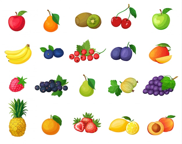 Set of icons fruits