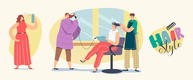 Set of icons hair styling. female characters visit beauty salon, make hairstyle at home. young woman master front mirror put curlers on client head in grooming place. linear people vector illustration