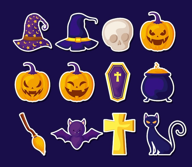 Set of icons halloween traditional