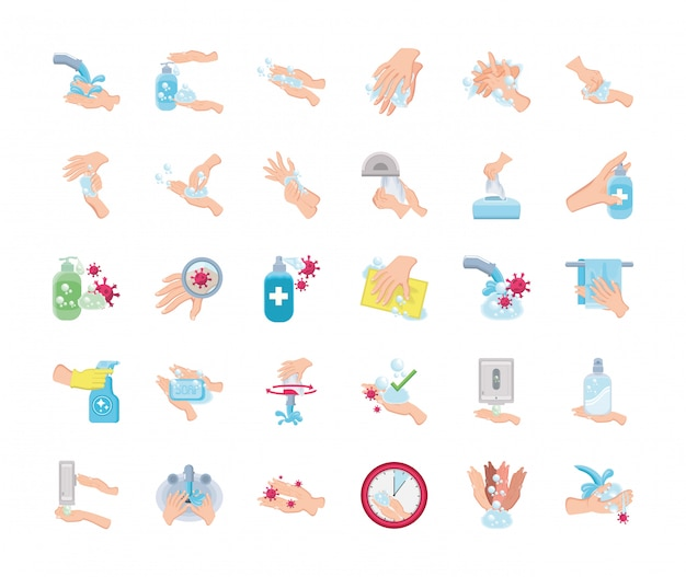 Set of icons of hand washes on white background