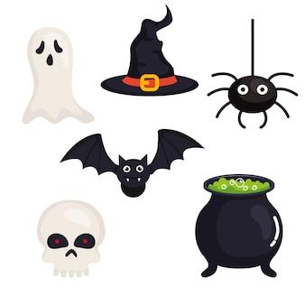 Set icons, happy halloween celebration
