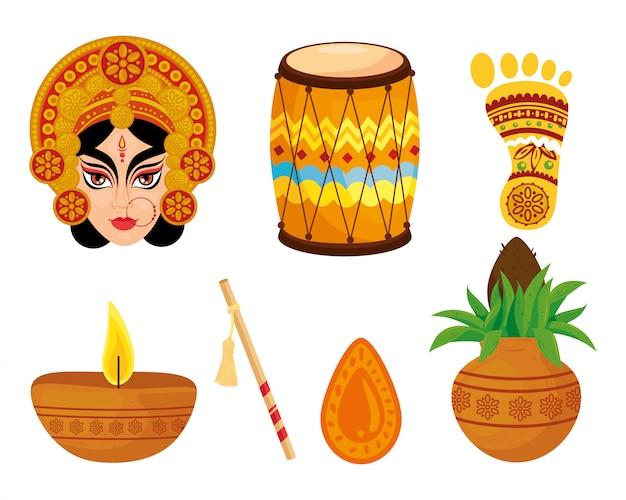 Set icons of happy navratri celebration