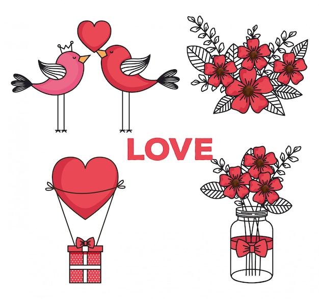 Set icons of happy valentines day