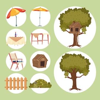 Set icons of house backyard
