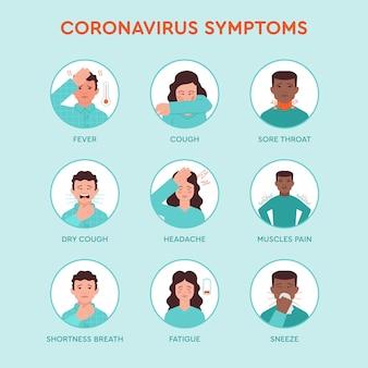 코로나 바이러스 증상의 infographic 아이콘을 설정하십시오.