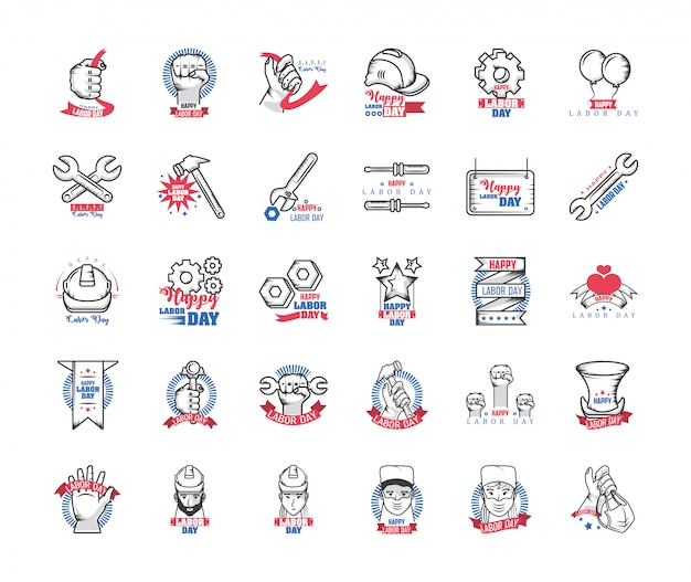 Set of icons of the labor day