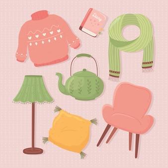 Набор иконок, лампа, чайник, свитер, стул, шарф, мультяшная иллюстрация в стиле хюгге