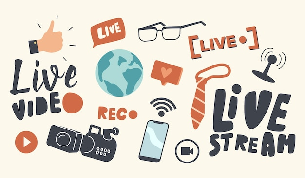 Set of icons live video stream theme. earth globe, hand with thumb up and camera with microphone, smartphone with wifi signal, necktie and like bubble with glasses. cartoon vector illustration