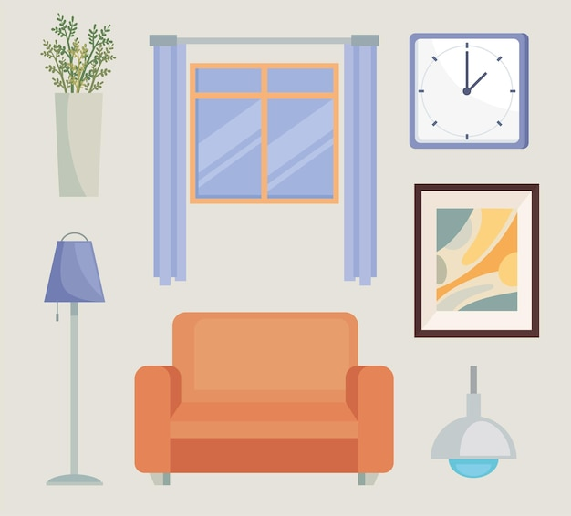 Set of icons living room