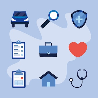 Set of icons medical insurance service