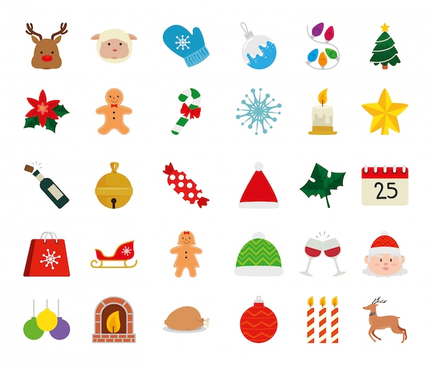 Set of icons merry christmas