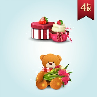 Set of icons for mother's day, gift, strawberry, cupcake and teddy bear with a bouquet of tulips