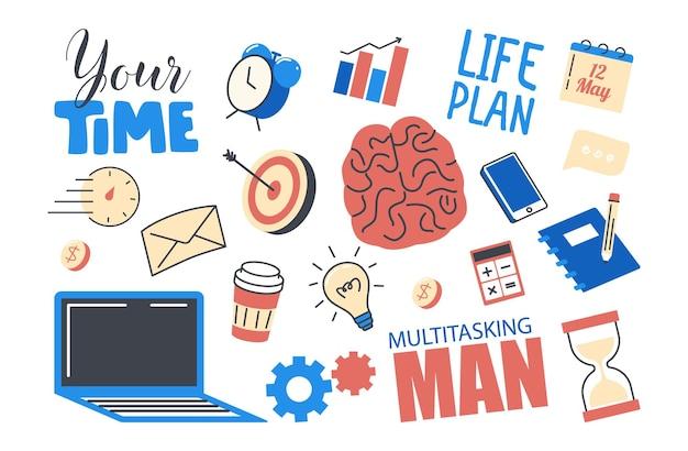 Set icons multitasking and working productivity theme