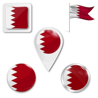 Set icons national flag of bahrain