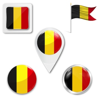 Set icons national flag of belgium