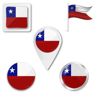Set icons national flag of chile