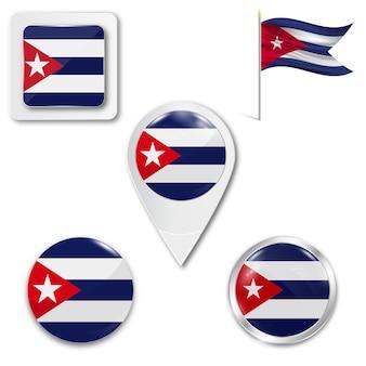 Set icons national flag of cuba